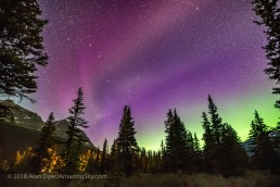 The unusual STEVE auroral arc across the northern sky at Bow Lake, Banff National Park, Alberta on the night of July 16-17, 2018. The more normal green auroral arc is lower across the northern horizon. But STEVE here appears more pink. The STEVE aurora was colourless to the eye but did show faint fast-moving rays, here blurred by the long exposure. They were moving east to west. The Big Dipper is at left. The lights are from Num-Ti-Jah Lodge. This is a single exposure for the sky and a mean-stacked blend of 3 exposures for the ground to smooth noise. All 15 seconds at f/2 with the Sigma 20mm Art lens and Nikon D750 at ISO 6400.