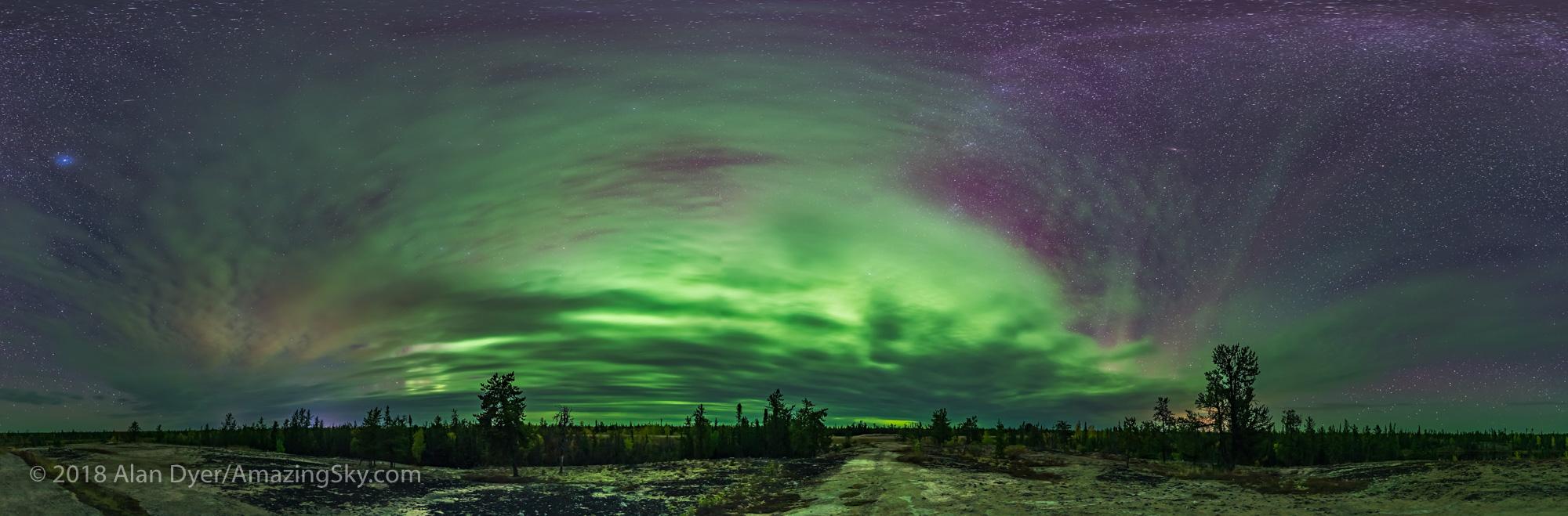Aurora in the Clouds Panorama
