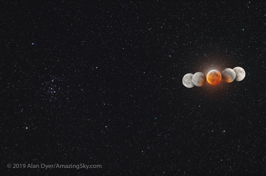 Eclipsed Moon and Umbral Shadow