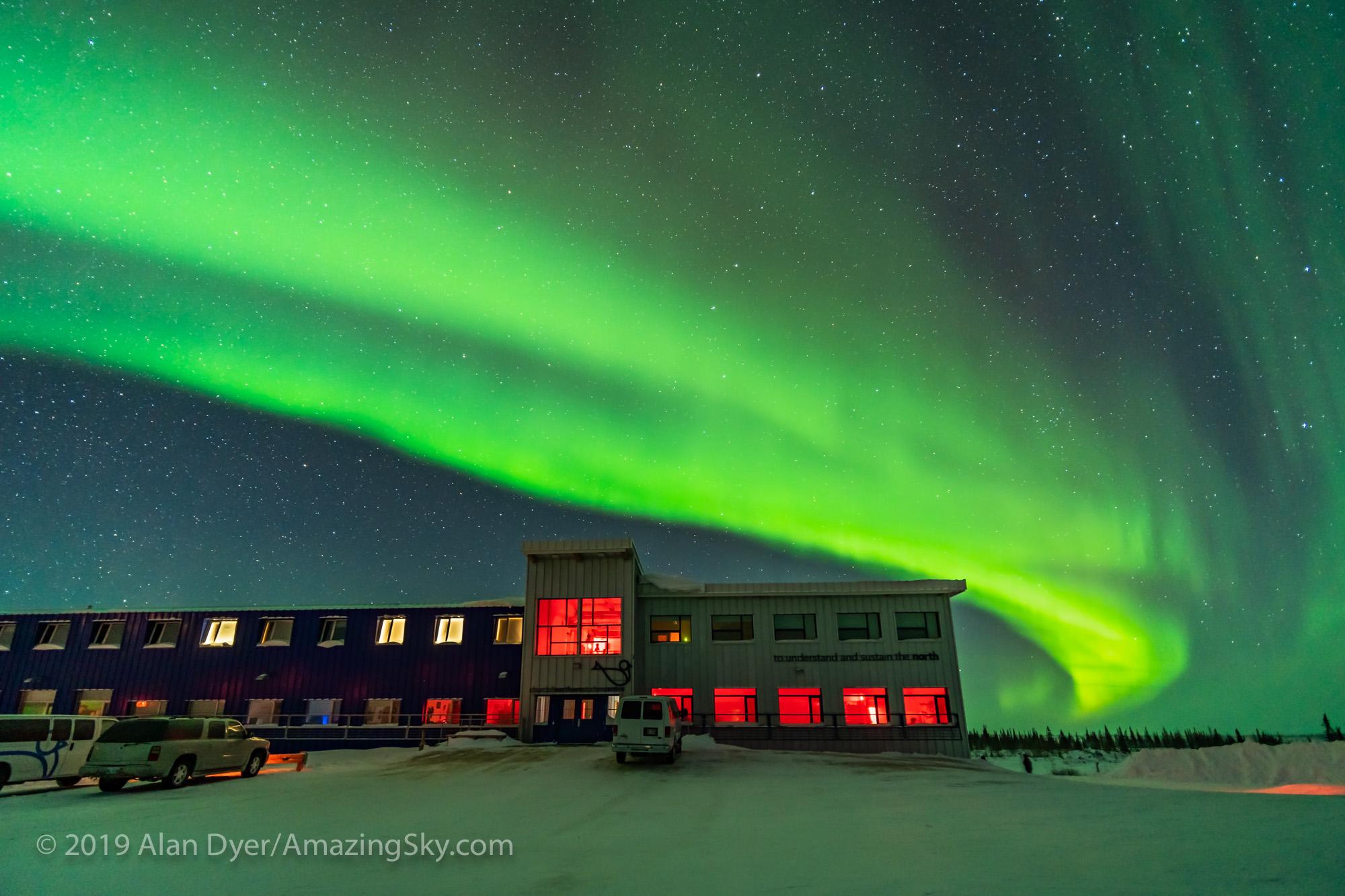 Auroral Arc over Northern Studies Centre (Feb 8, 2019)