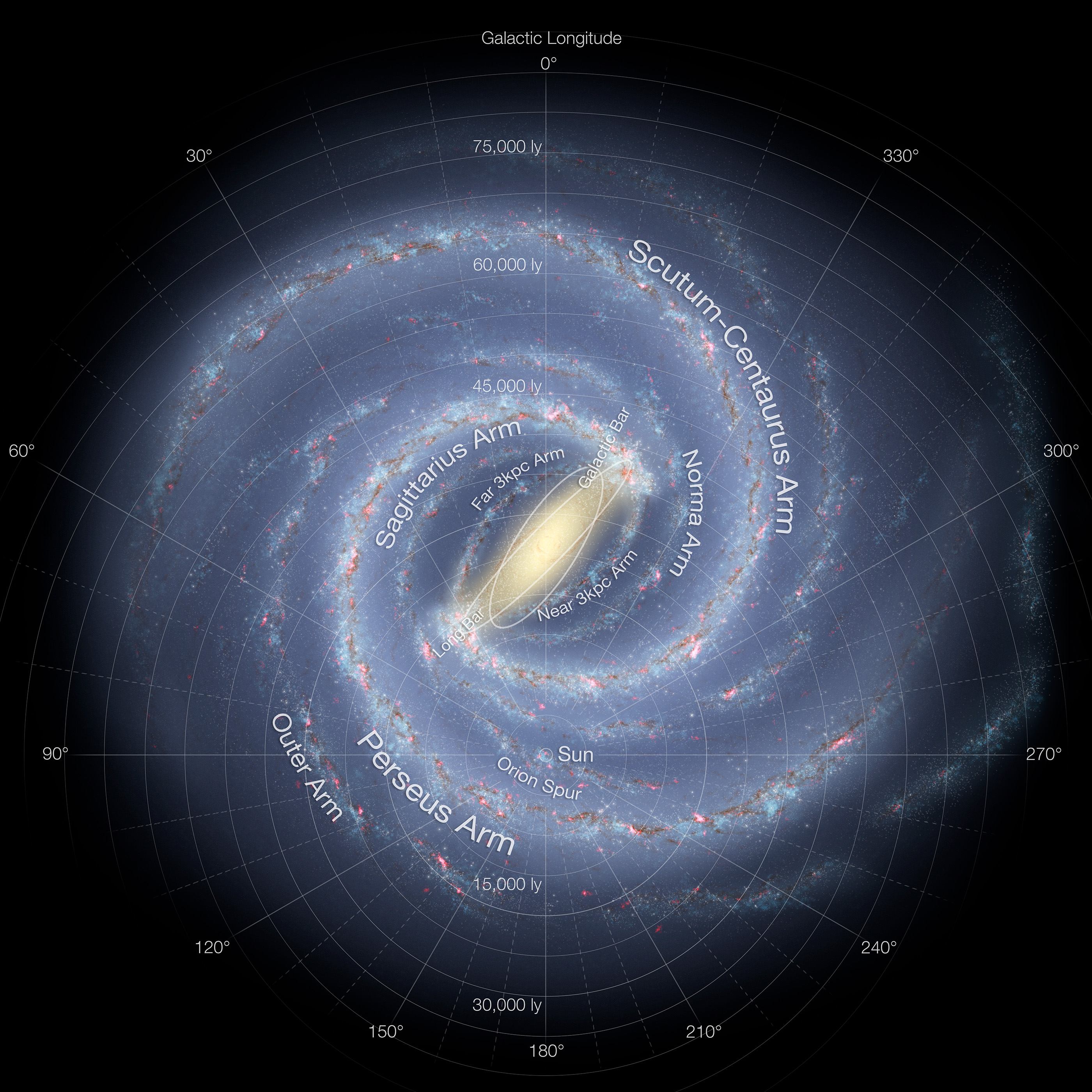 Artist's impression of the Milky Way (updated - annotated)