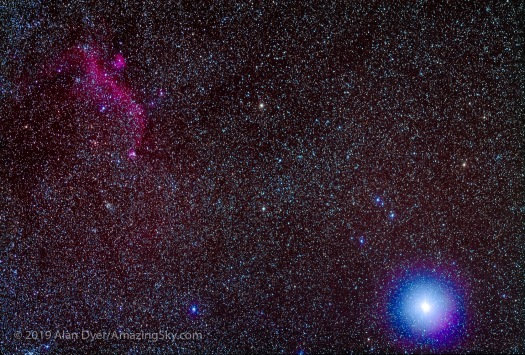 Seagull Nebula and Sirius with 200mm