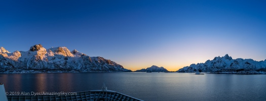 Alpenglow and Twilight on the Fjords