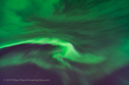 Auroral Swirls Overhed from the ms Trollfjord