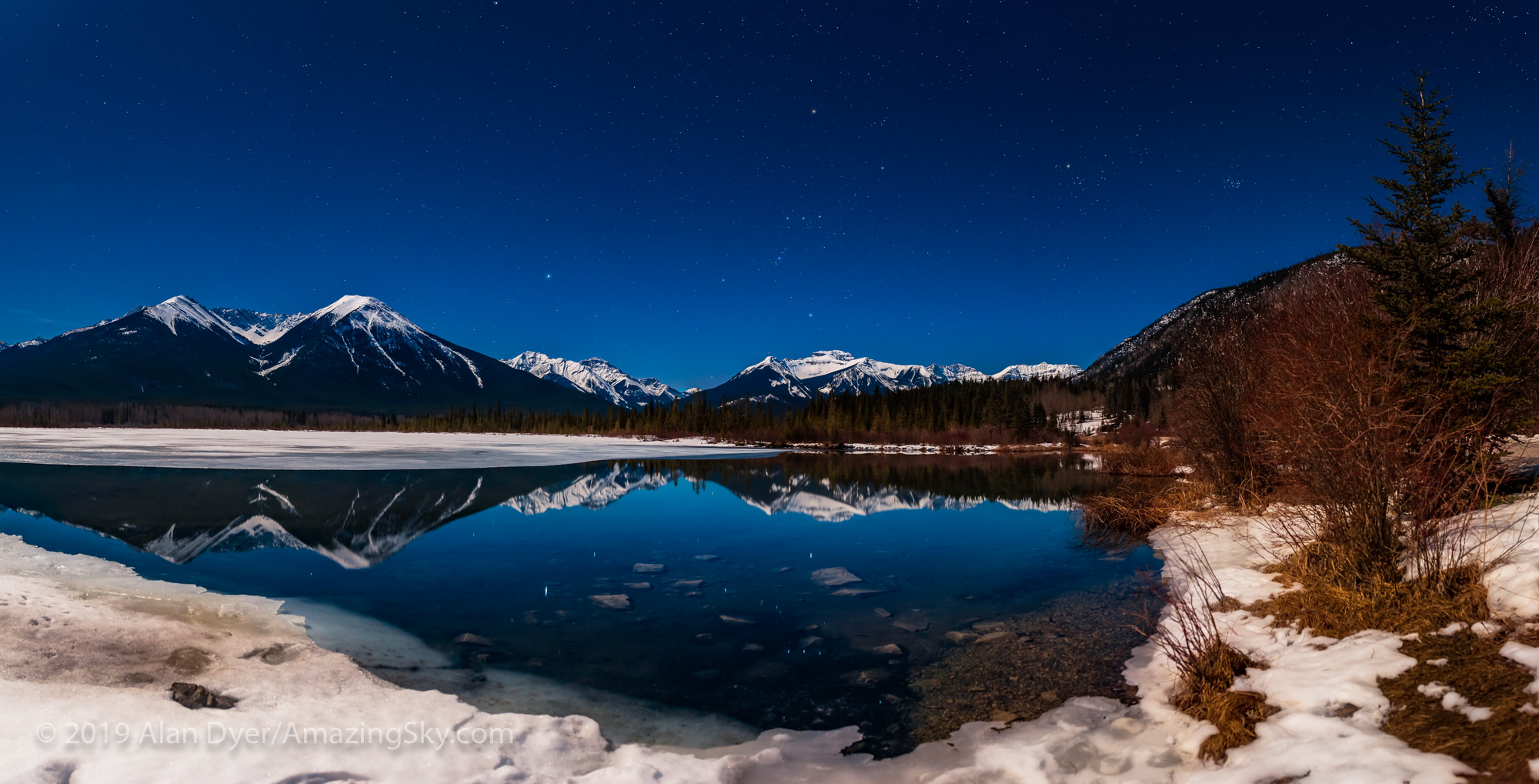 Orion Setting in the Moonlight at Vermilion Lakes