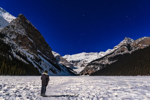 Selfie at Lake Louise in Moonlight