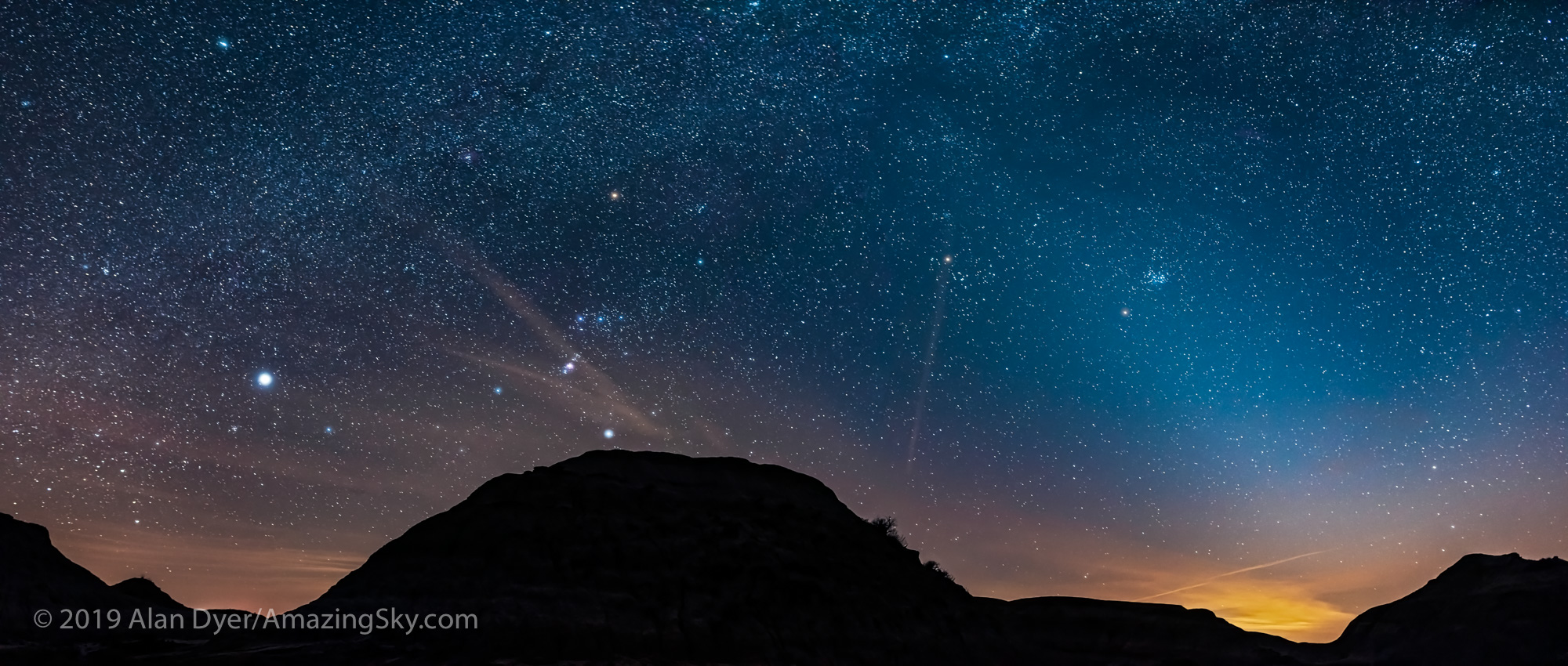 The Winter Stars and Zodiacal Light at Dinosaur Park