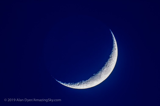 Four-Day-Old Moon in Blue Twilight