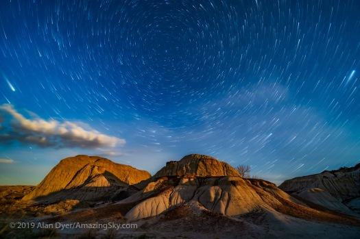 Moonrise Star Trails at Dinosaur Park