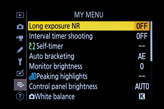 Nikon Z6-My Menu