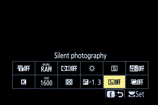 Z6 Menu - Silent Shooting
