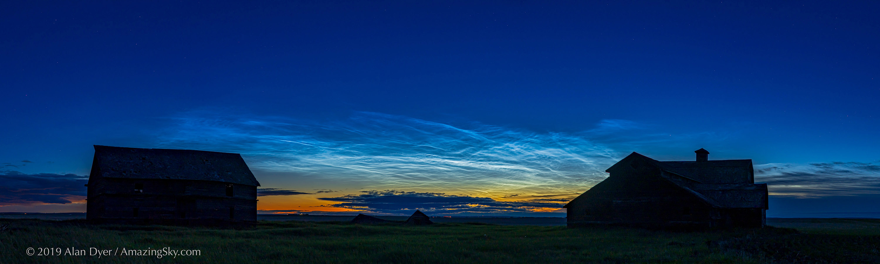 Noctilucent Cloud Panorama over OId Barns on June 19, 2019