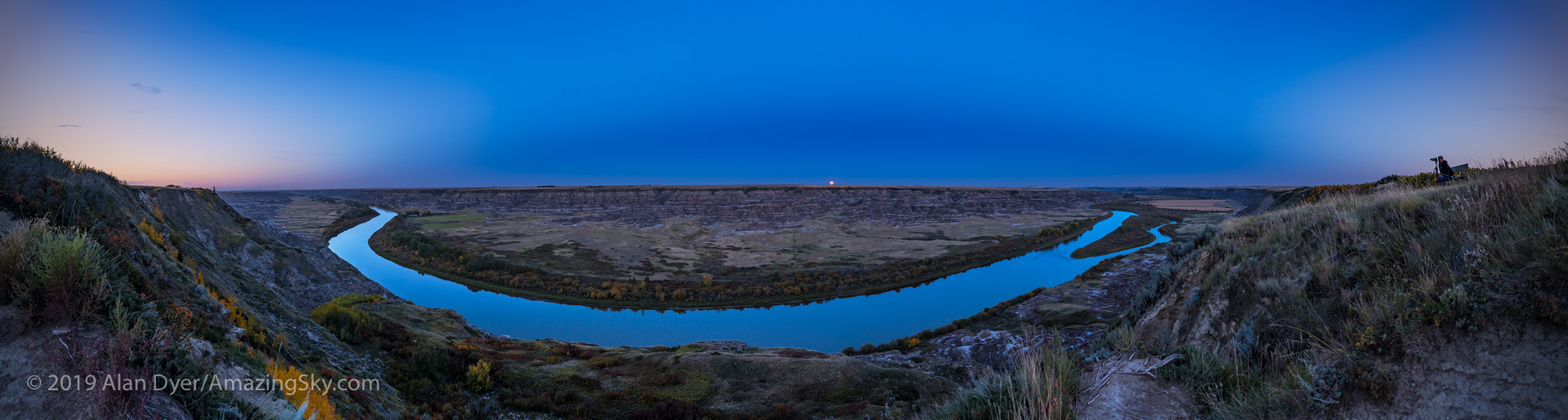 Harvest Moon Rising over the Red Deer River