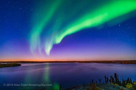 Aurora in Twilight over Prelude Lake