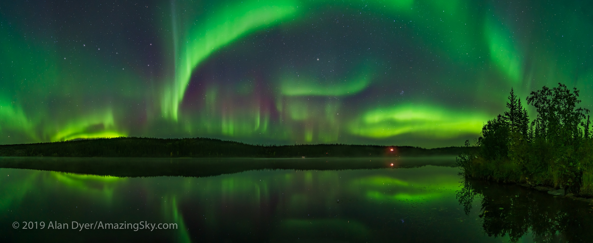 Aurora over Madeline Lake Panorama (Sept 7, 2019)