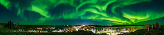 Panorama of the Aurora Dancing over Yellowknife