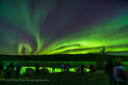 Aurora Tourists at Madeline Lake