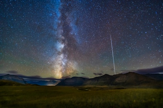 Milky Way and ISS over Waterton Lakes
