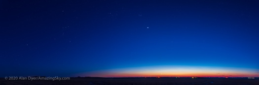 Panorama of  Venus and the Winter Stars (March 25, 2020)
