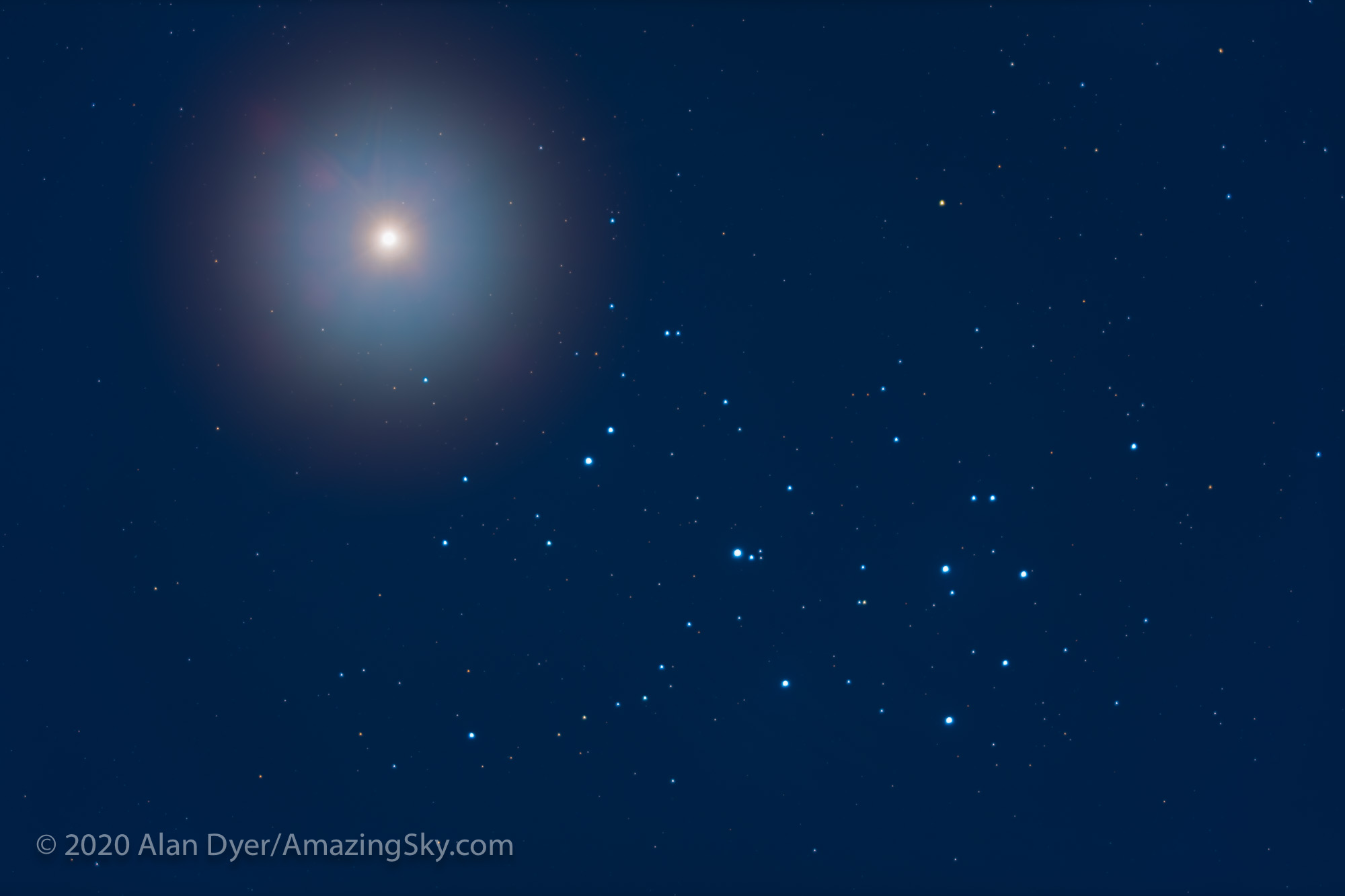 Venus and the Pleiades - Close-Up (April 4, 2020)