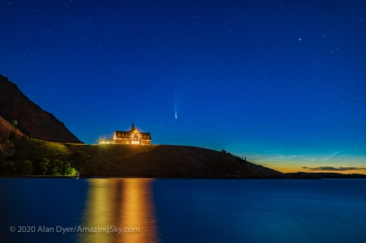 Comet NEOWISE and NLCs over Prince of Wales Hotel (July 14, 2020