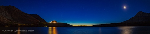 Panorama of Comet NEOWISE Over Prince of Wales Hotel (July 14, 2